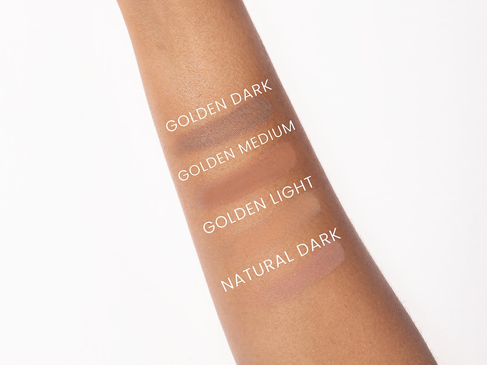 Swatche ciemnych podkładów Annabelle Minerals do konturowania twarzy: Golden Dark, Golden Medium, Golden Light, Natural Dark