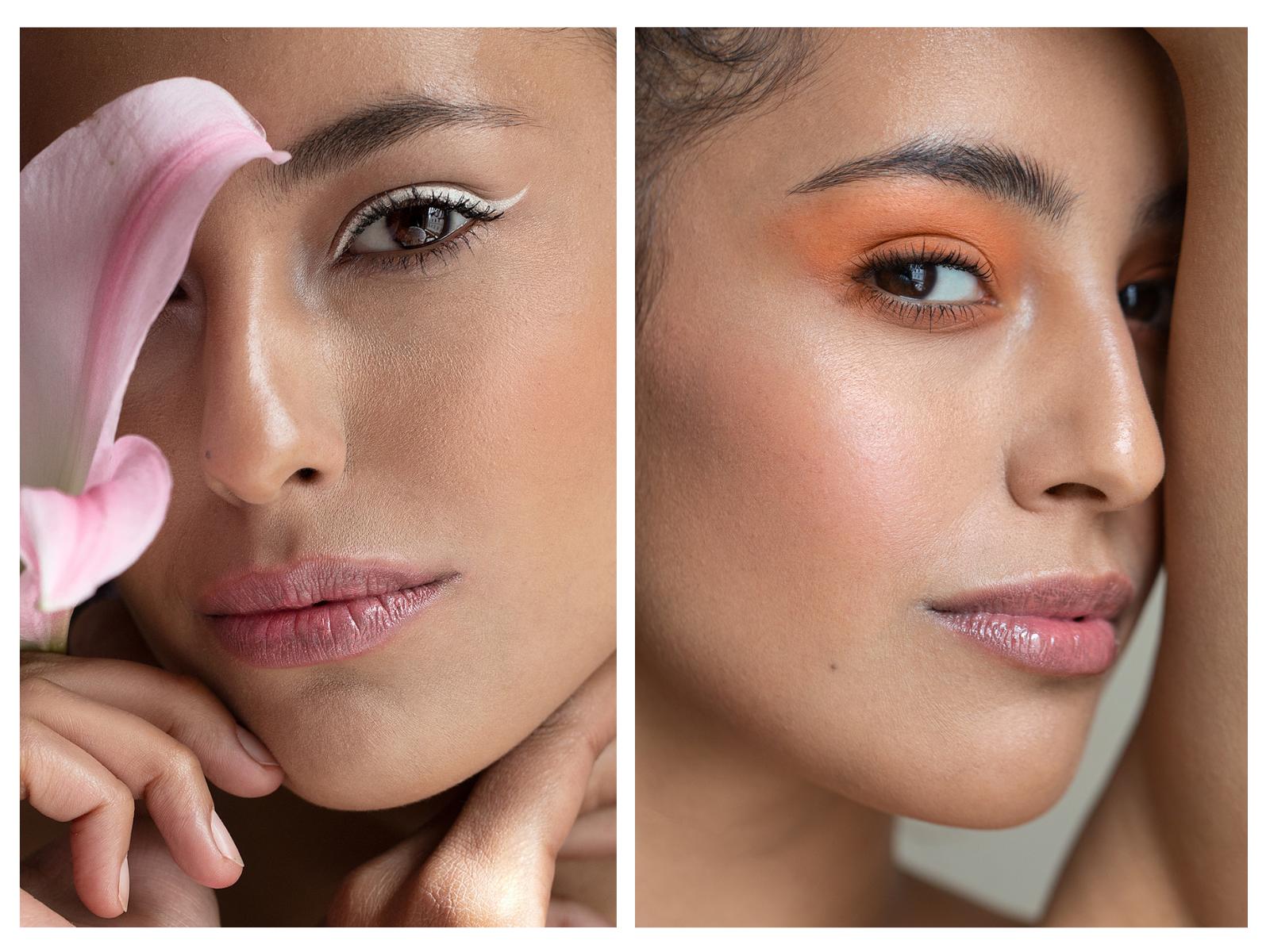 Makijaż cieniami glinkowymi Annabelle Minerals: kreska narysowana cieniem Almond Milk i powieka w kolorze Ice Tea
