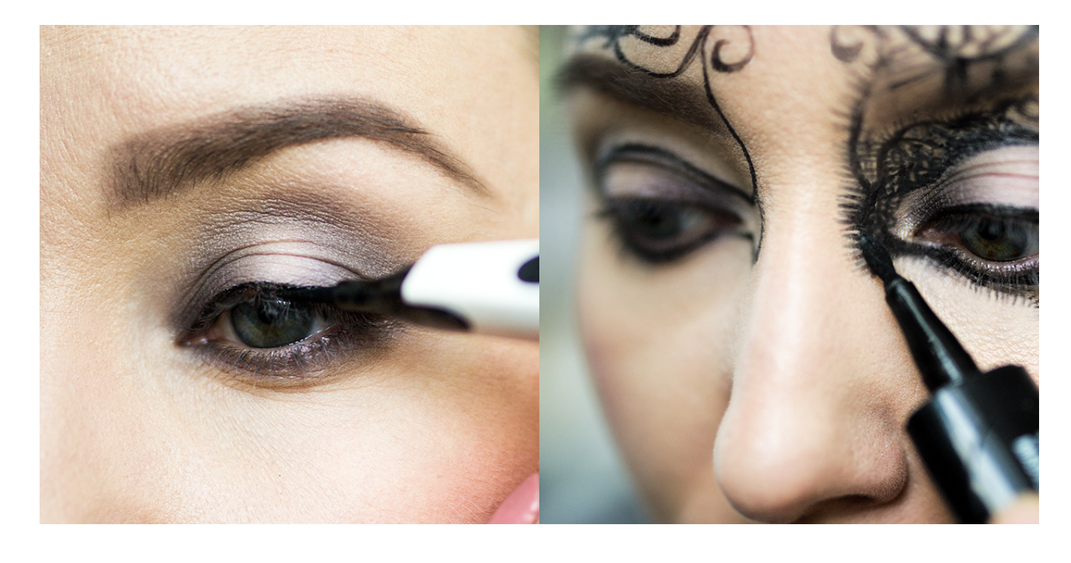 Makijaż karnawałowy z koronkowym akcentem