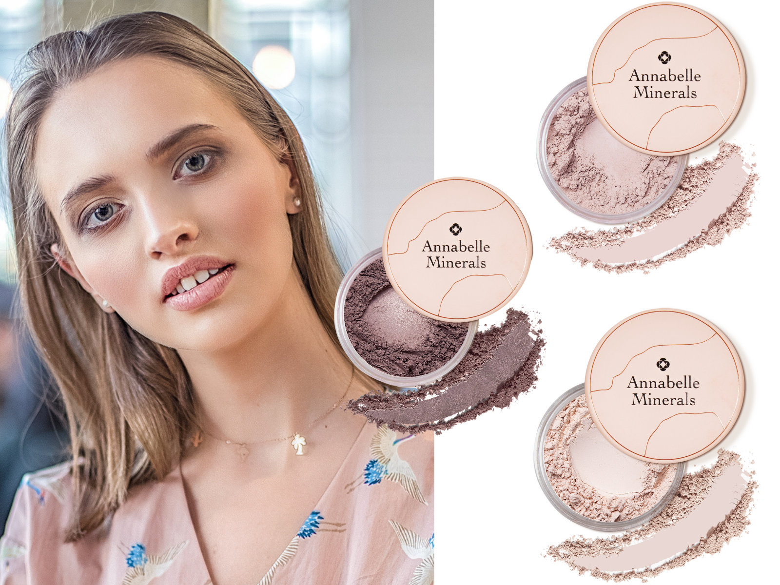 Makijaż dla opadających powiek z użyciem cieni mineralnych Annabelle Mnerals w kolorach Vanilla, Frappe i Chocolate